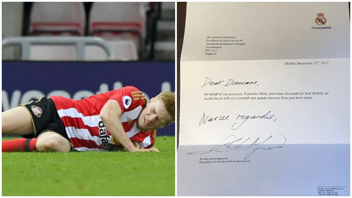 Watmore y la carta que le envió el Real Madrid tras su segunda lesión de rodilla (Fotos: Getty Images y Twitter)