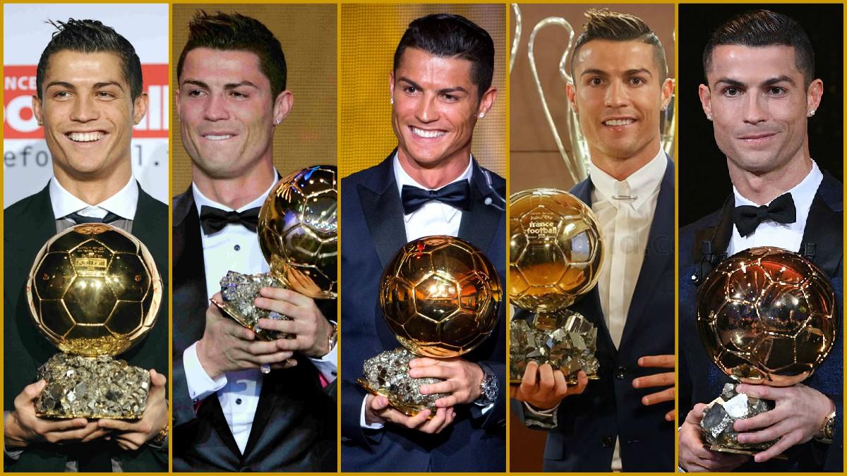 Cristiano Ronaldo posa junto a sus cinco balones de oro.