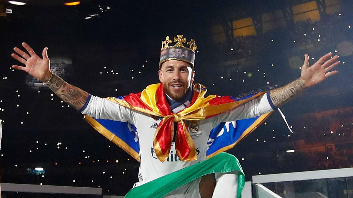 Sergio Ramos durante la celebración de la Duodécima. (Realmadrid.com)