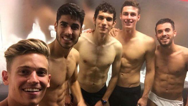 Kepa posa con los 'sub 21' del Real Madrid.