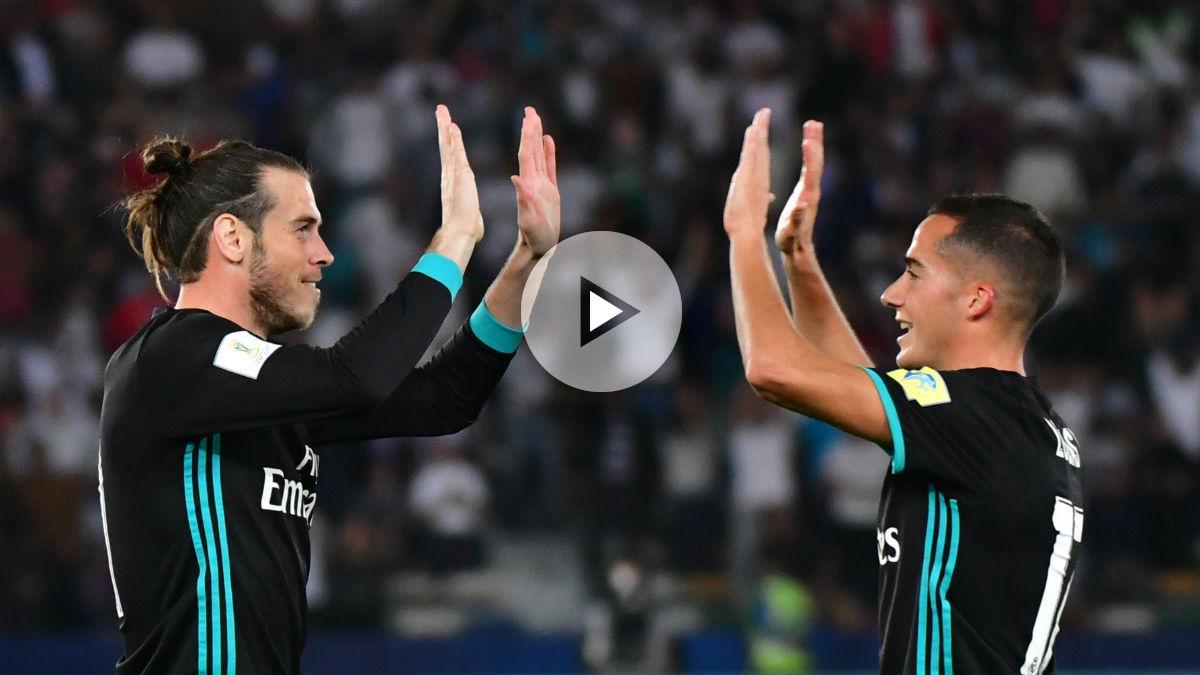 Gareth Bale celebra su gol ante el Al Jazira con Lucas. (AFP)