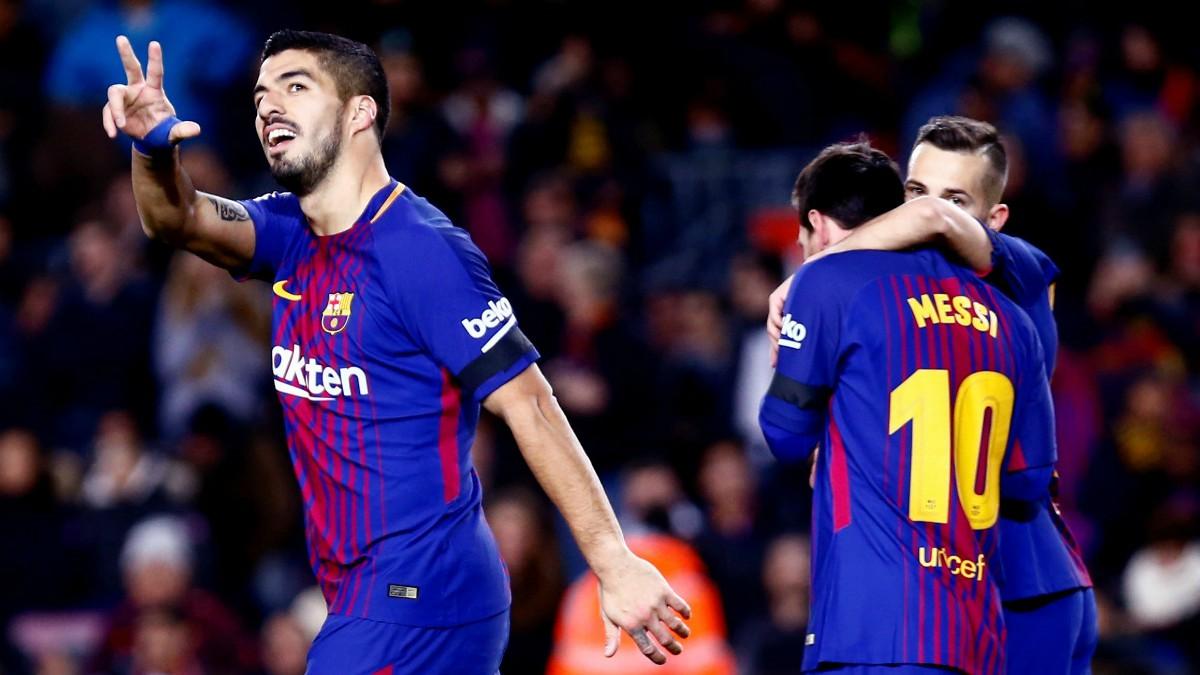Luis Suárez celebra su gol al Deportivo. (EFE)
