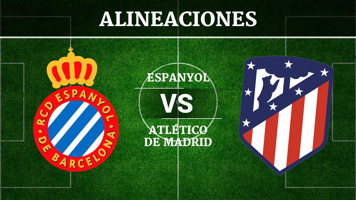 Consulta las posibles alineaciones del Espanyol vs Atlético de Madrid.