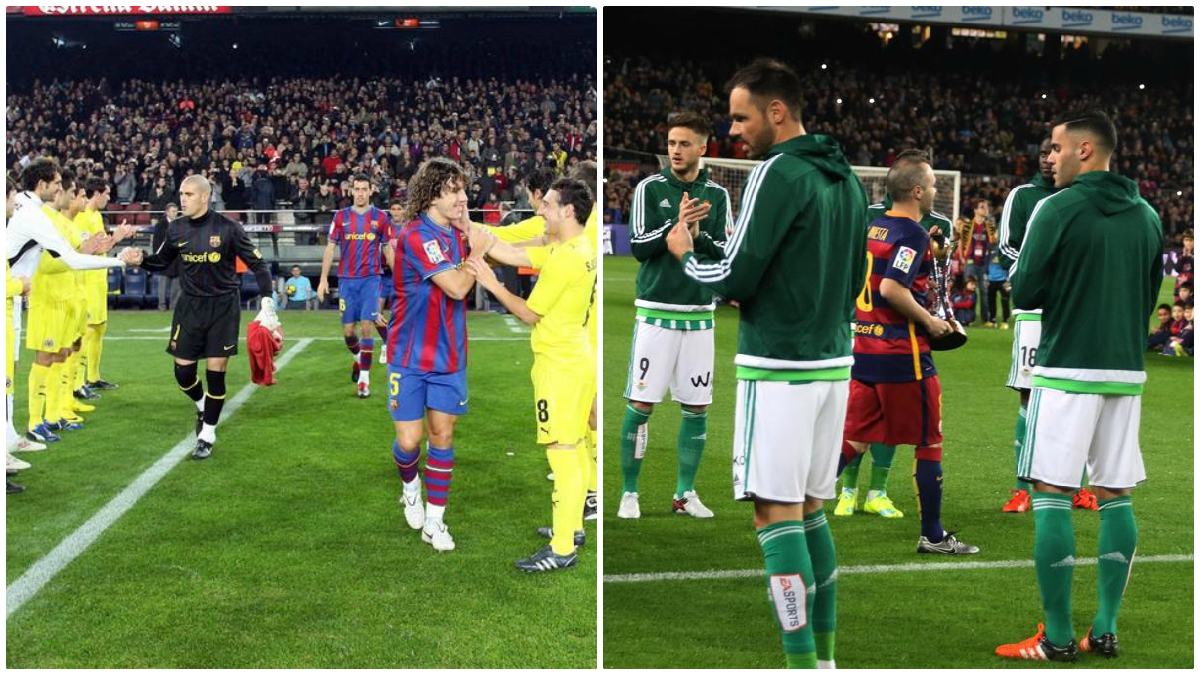 Los pasillos de Villarreal y Betis al Barcelona. (Fotos: AFP y Getty Images)