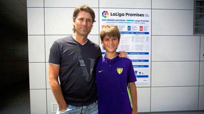 Julen Guerrero junto a su hijo, Julen Jon Guerrero.