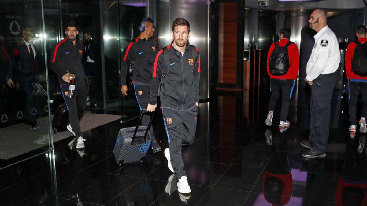 Los jugadores del Barça, a su llegada a Madrid. (fcbarcelona.com)