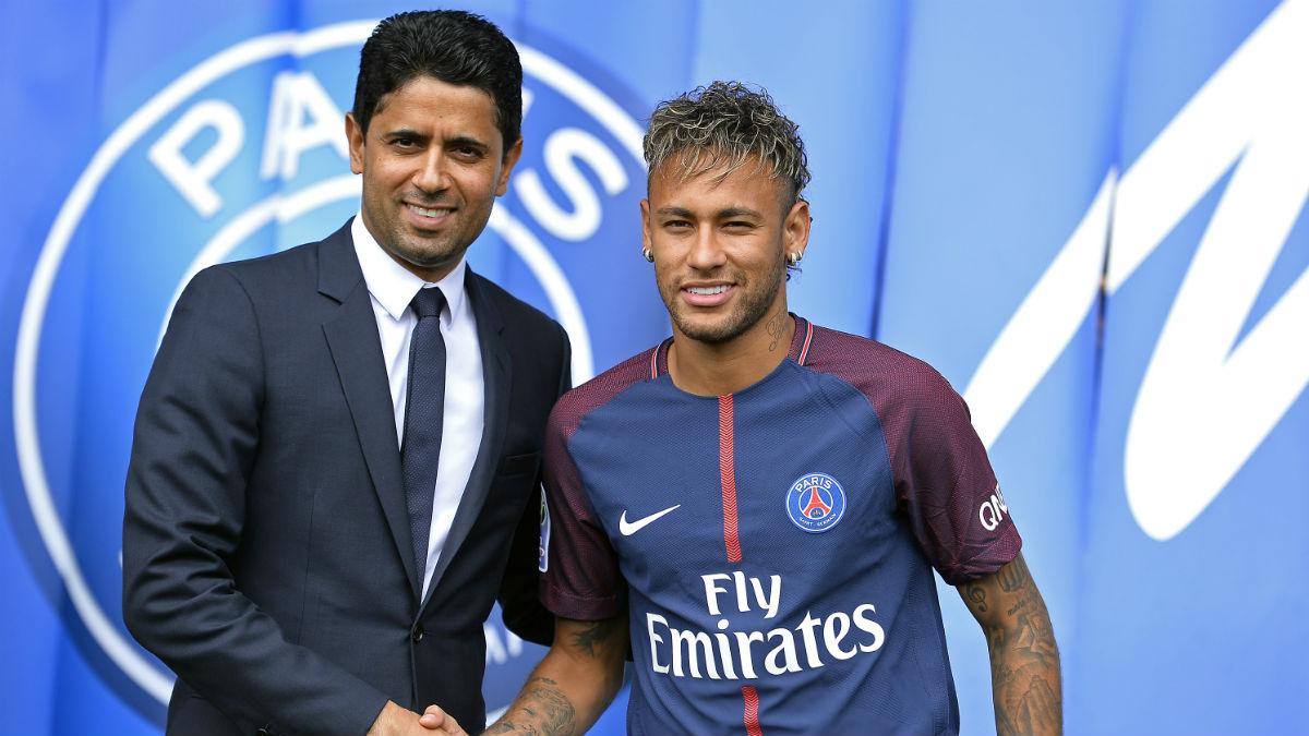Neymar y Al-Khelaifi. (Getty)
