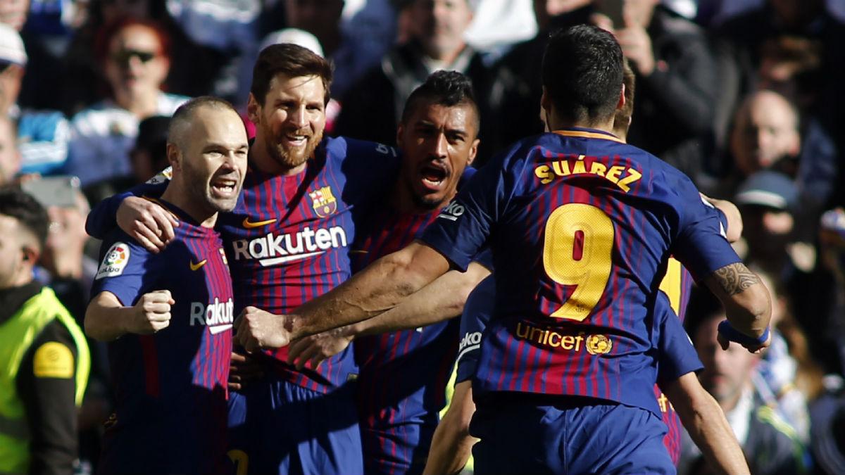 Andrés Iniesta celebra uno de los goles del Clásico. (AFP)