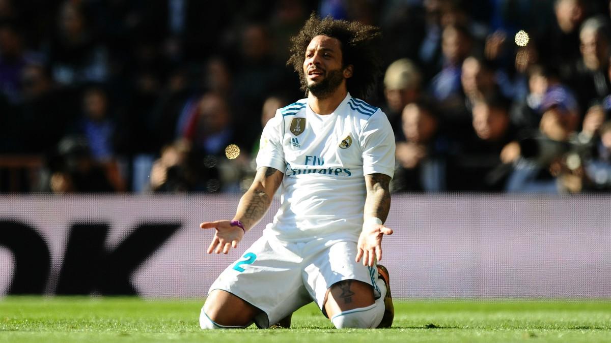 Marcelo se lamenta tras una acción del Clásico. (Getty)