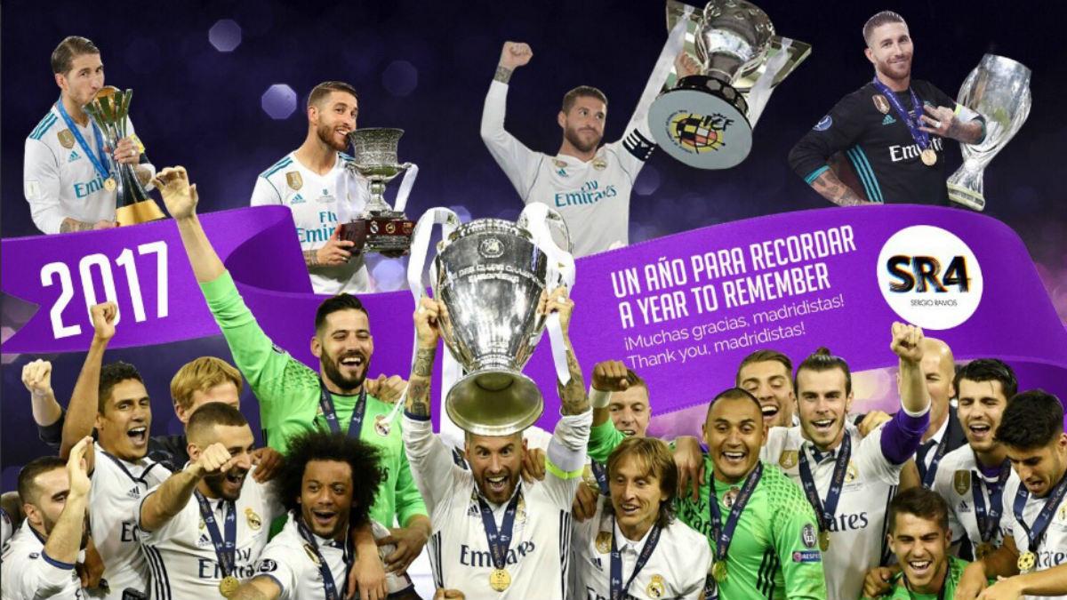 Los jugadores del Real Madrid despiden el año recordando lo logrado en este 2017 (Twitter).