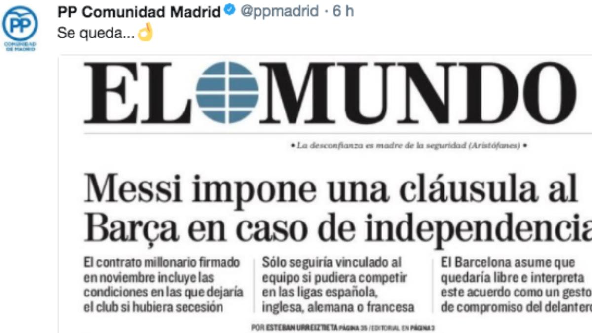 El PP de la comunidad de Madrid trollea al Barcelona y a Cataluña