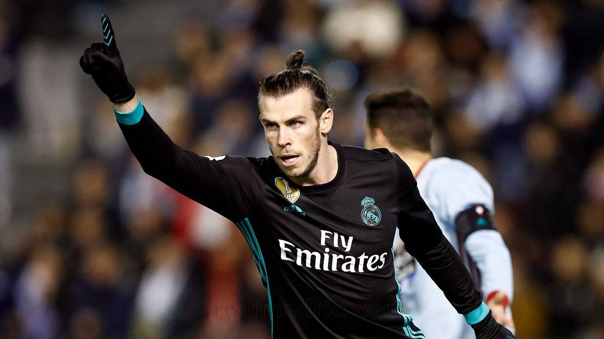 Bale, celebrando uno de sus goles en Balaídos (www.realmadrid.com).
