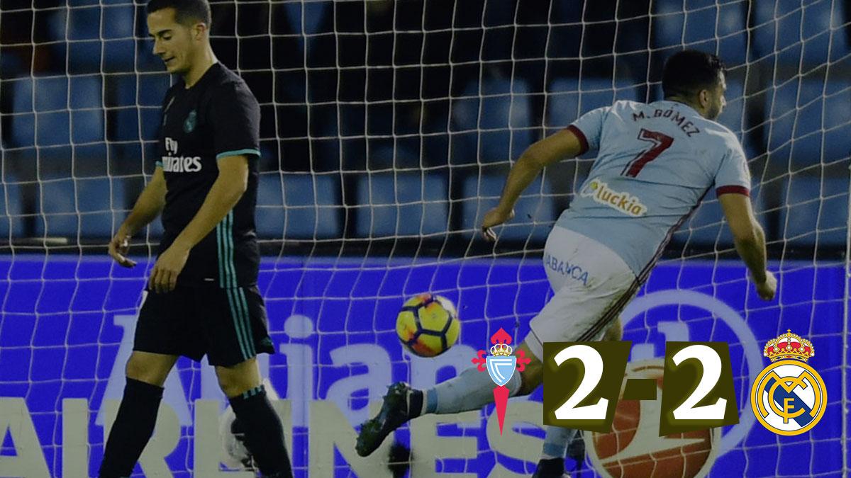 Maxi Gómez celebra el segundo tanto del Celta.