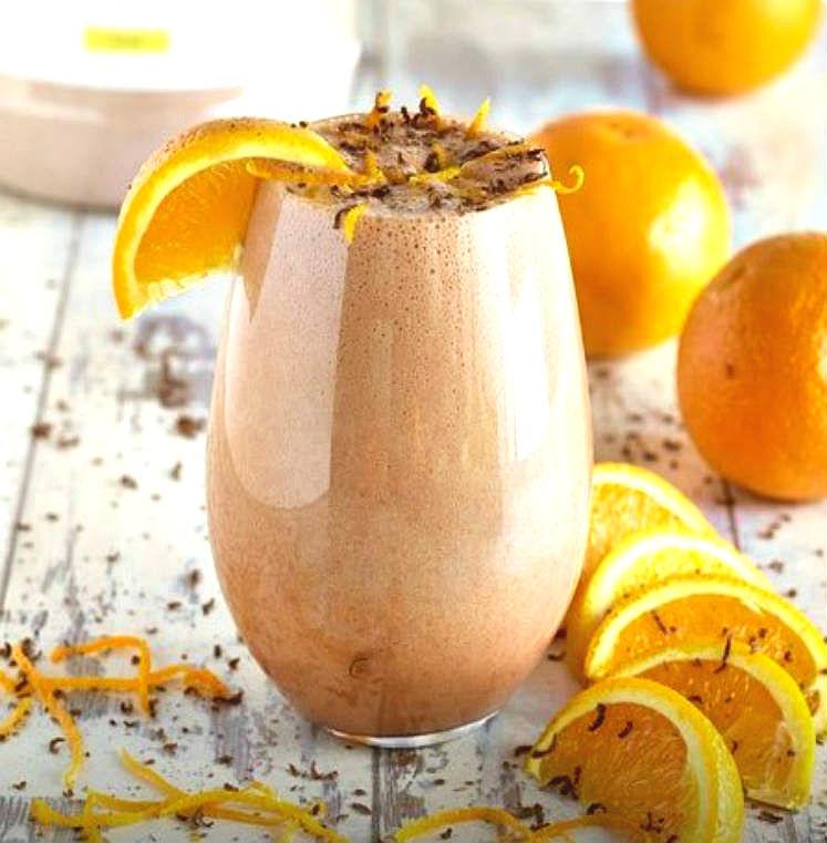 Smoothie de chocolate y naranja