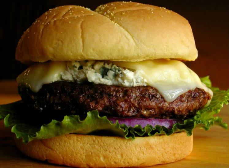 Hamburguesa con queso azul  y orégano o blue moon burget