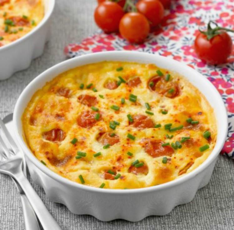 Clafoutis con tomates cherry