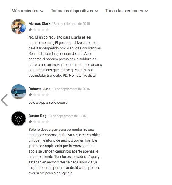 Comentarios Tienda Google pasar a iOS