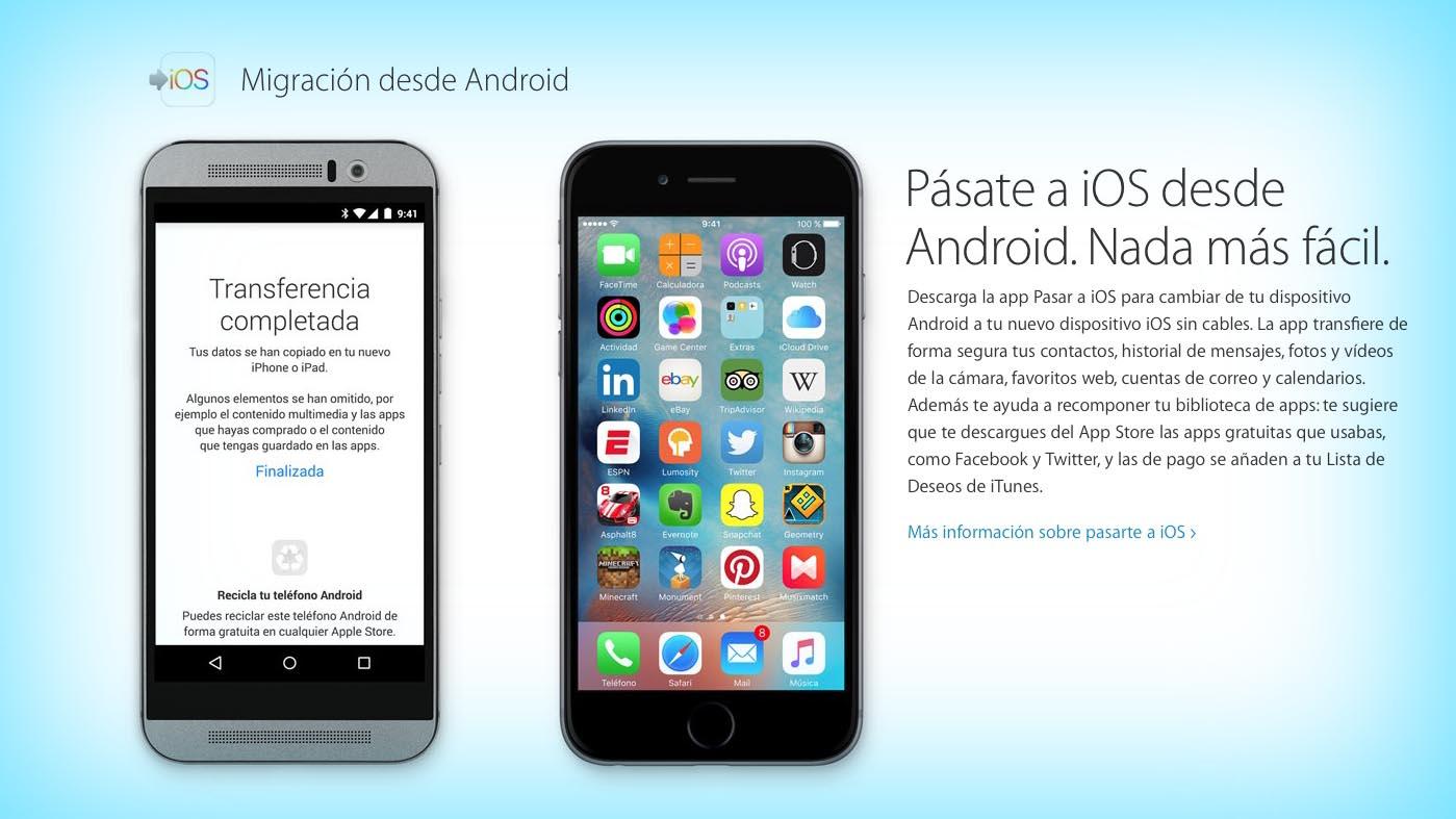 """La app """"Pasar a iOS"""" de Apple desata la ira de los fans de Android"""