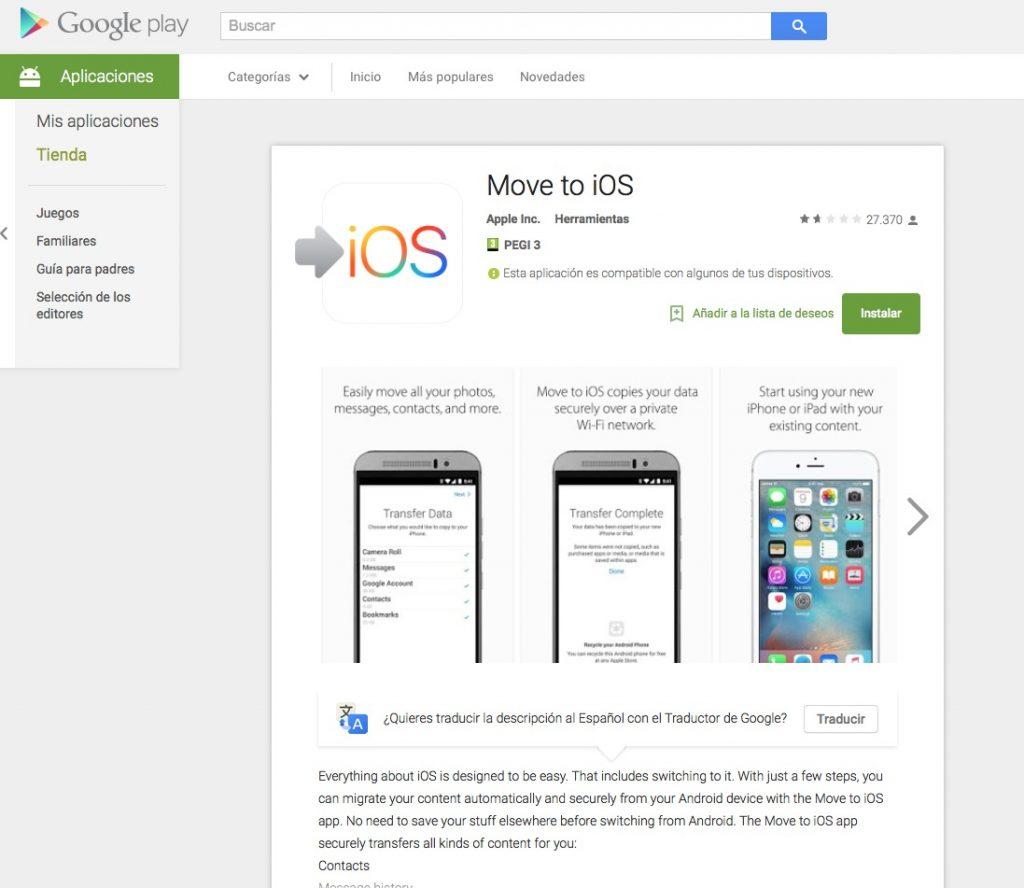 Pasar a iOS tienda Google