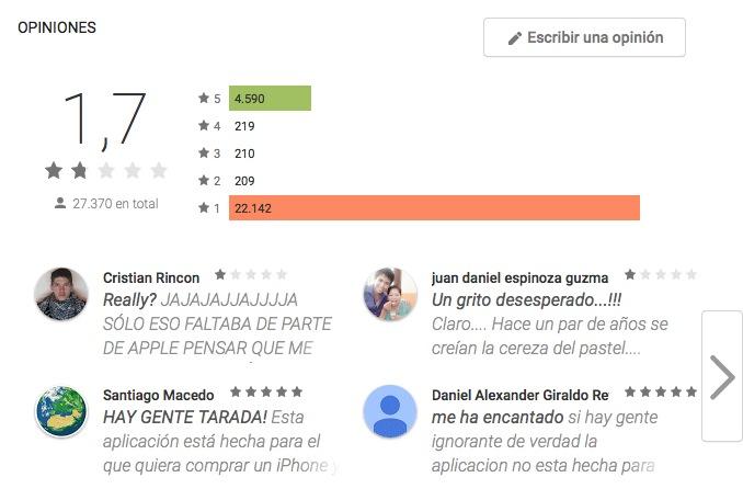 Puntuaciones Tienda Google pasar a iOS