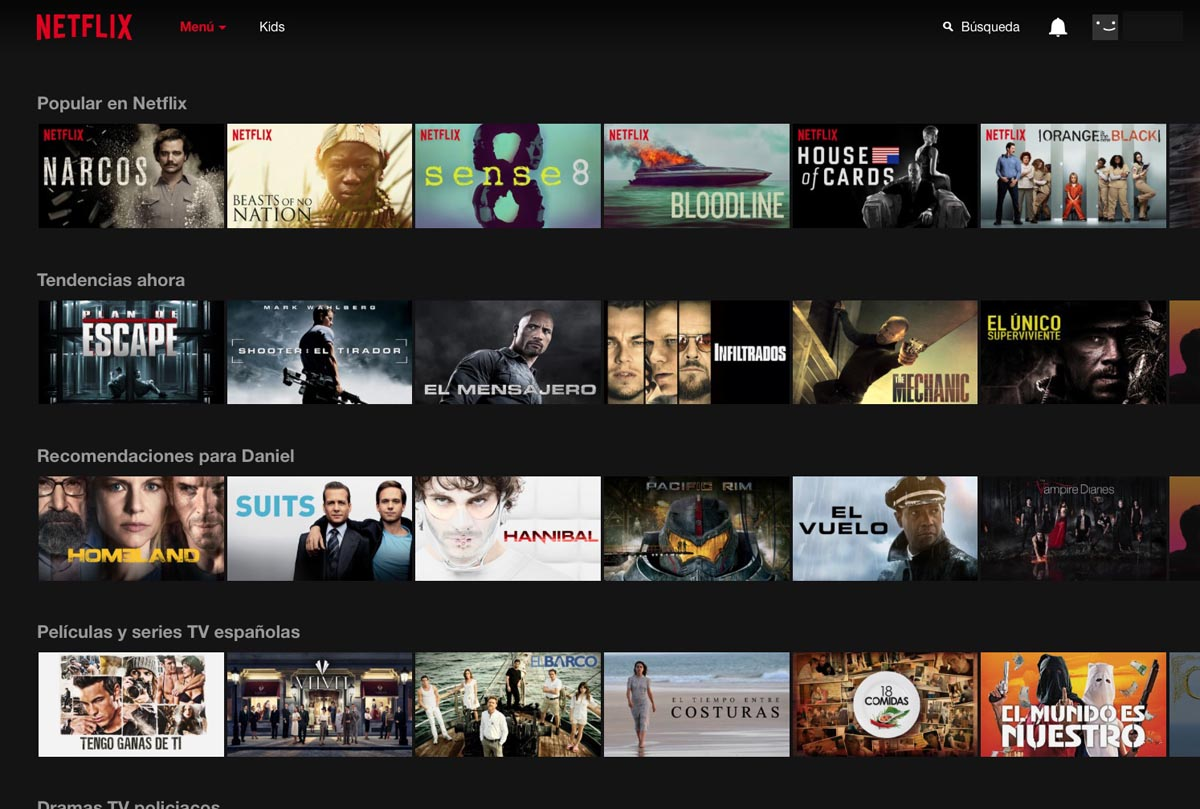 Netflix Interfaz 1