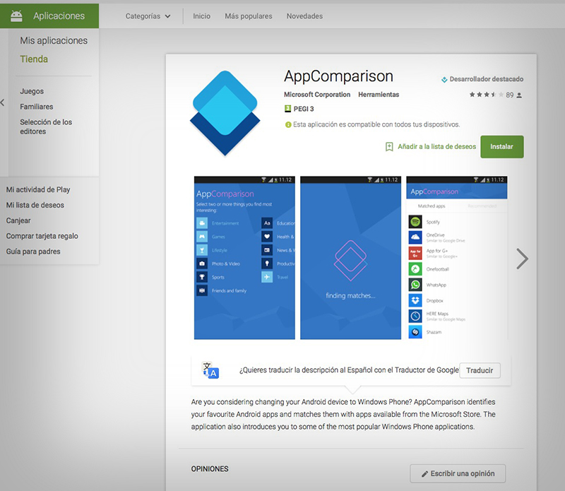 AppComparison Googla Play
