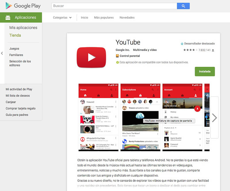 YouTube en Play Store