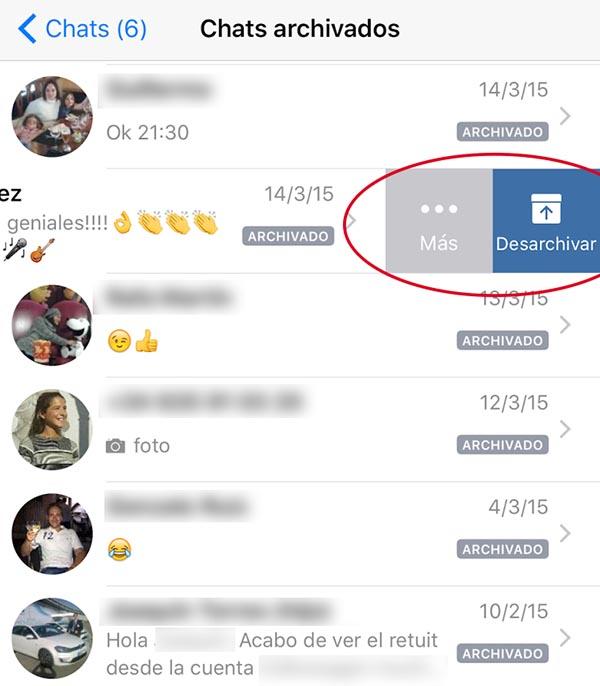Desarchivar Chat iOS