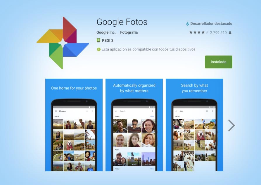 Google Fotos Apertura