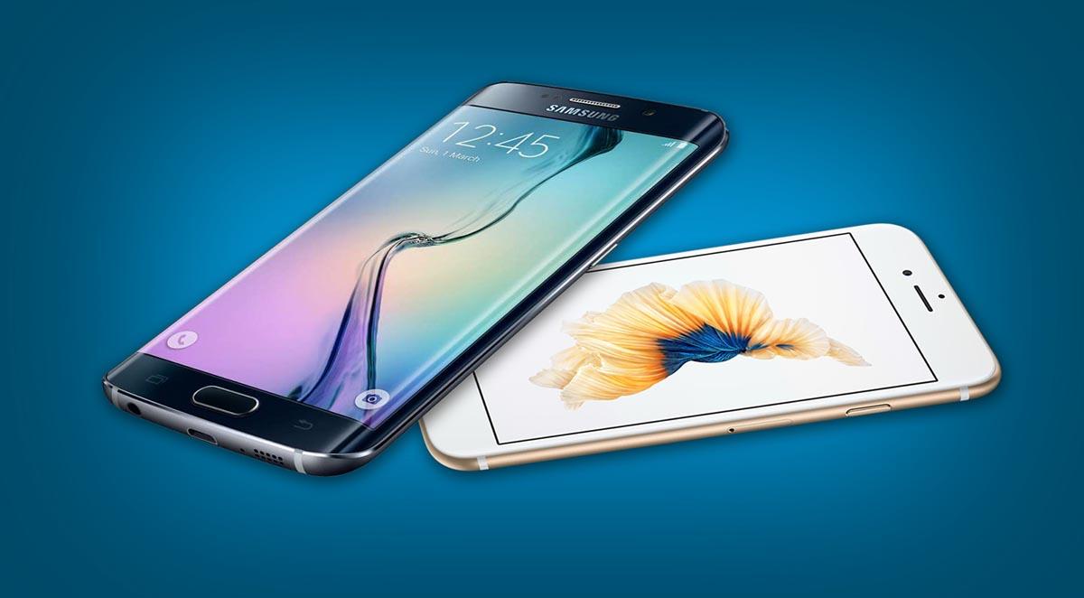 Galaxy S6 encima iPhone