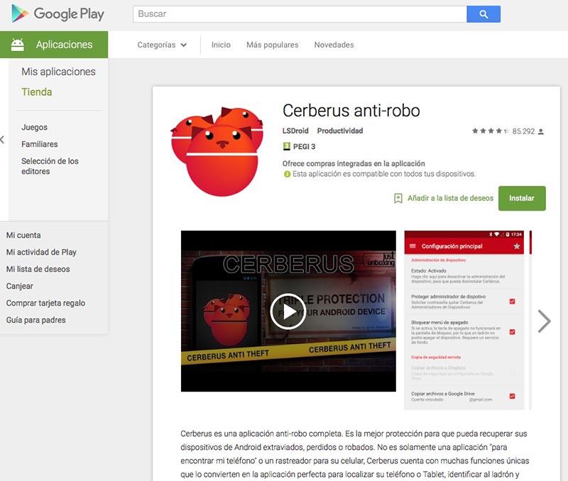 cerberus app espia anti robo