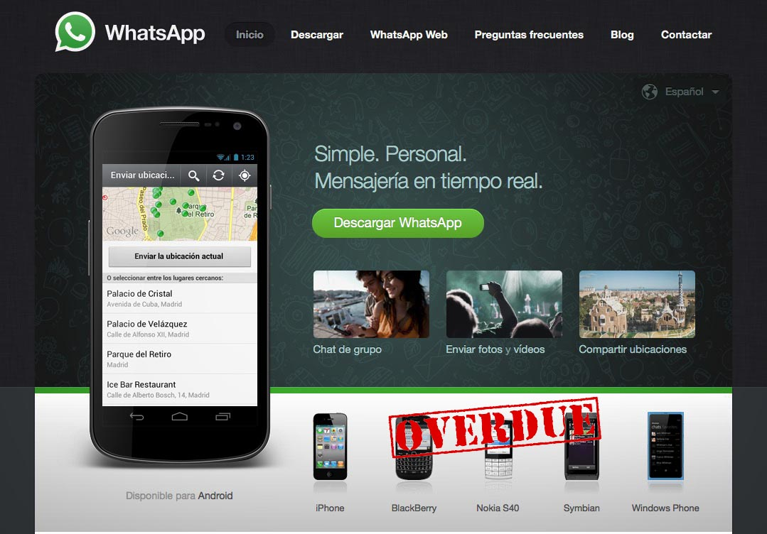 Pantalla WhatsApp plataformas