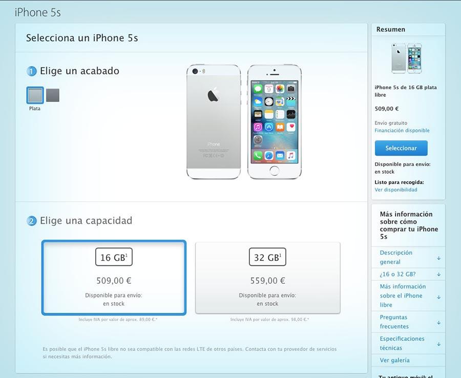 iPhone 5s precio