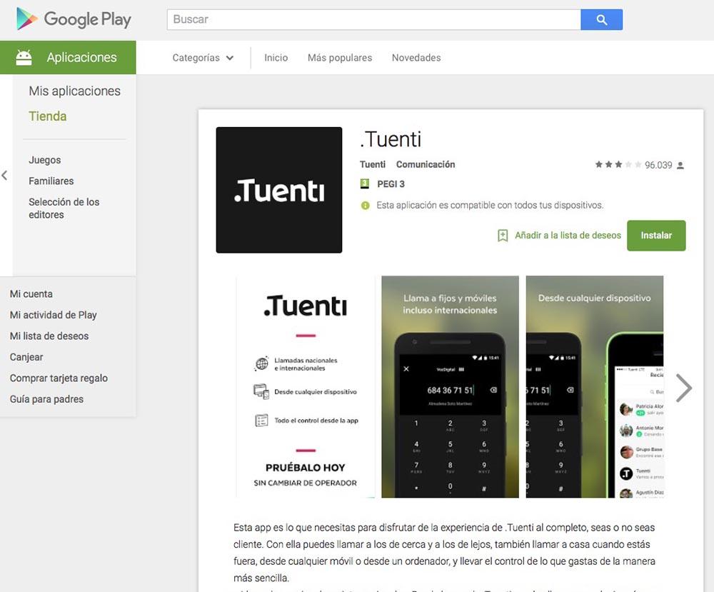 Tuenti google Play