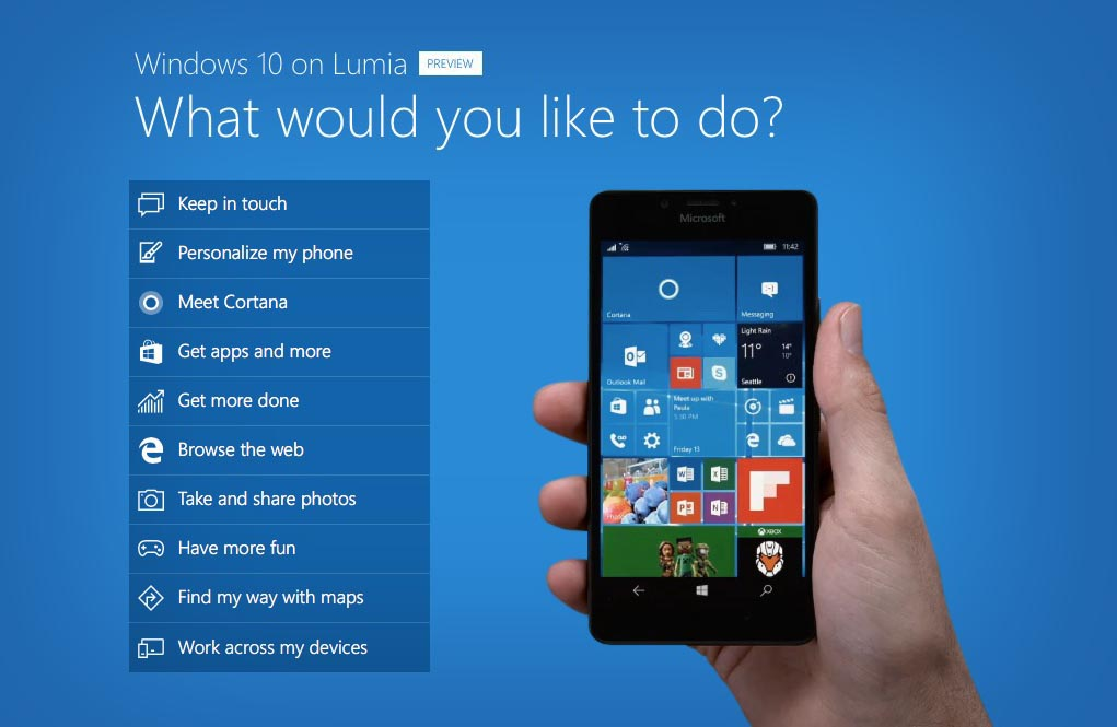 Windows 10 moviles Lumia