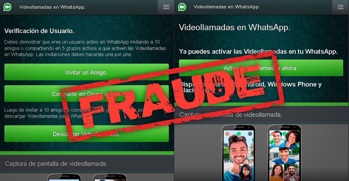 Videollamadas WhatsApp fraude