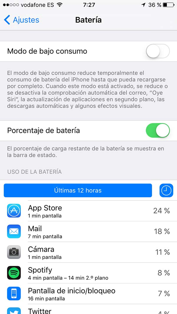Porcentajes uso Bateria