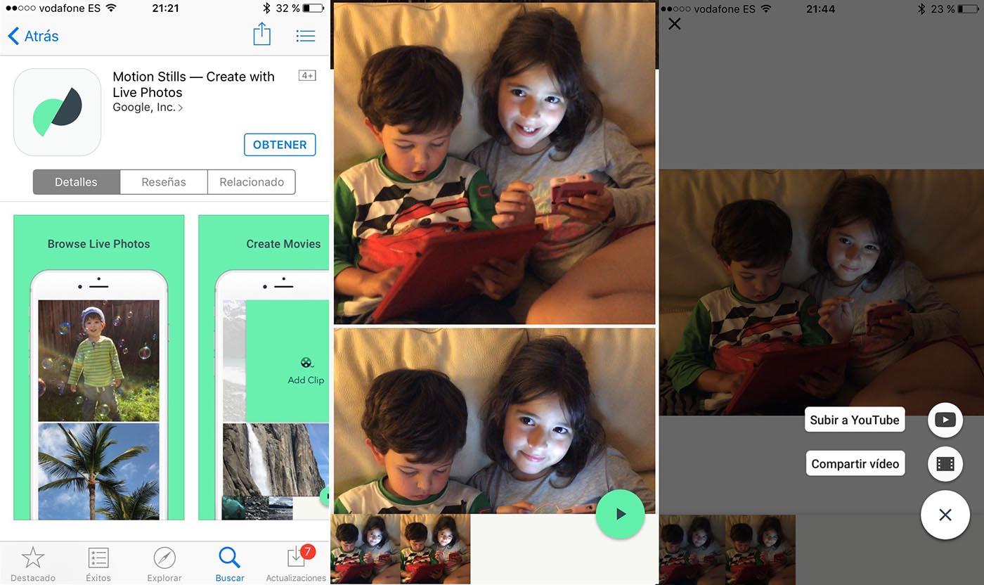 Google Motion Stills interfaz