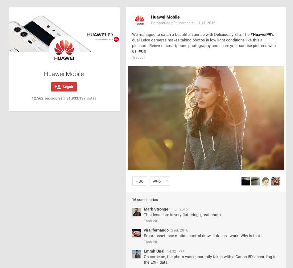 Huawei Foto Redes Sociales