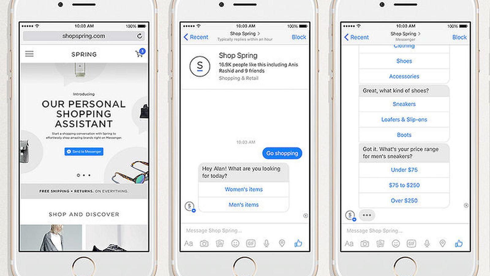 Otras de las novedades que planea incluir Facebook es un acceso directo para que, desde la página de una empresa o una tienda, puedas iniciar una conversación con su bot inteligente en Messenger e informarte sobre un producto o servicio.