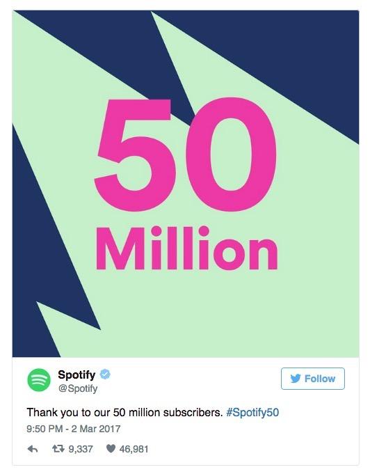 Spotify ya tiene 50 millones de usuarios