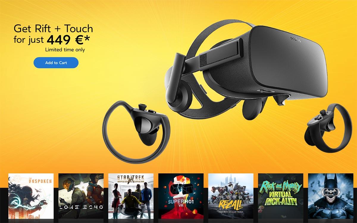Facebook rebaja hasta los 400 dólares su gafas VR Oculus Rift