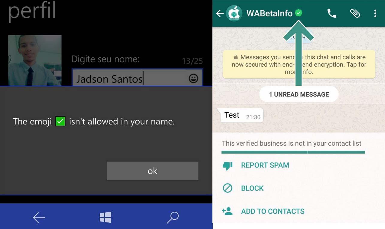 Perfiles verificados WhatsApp