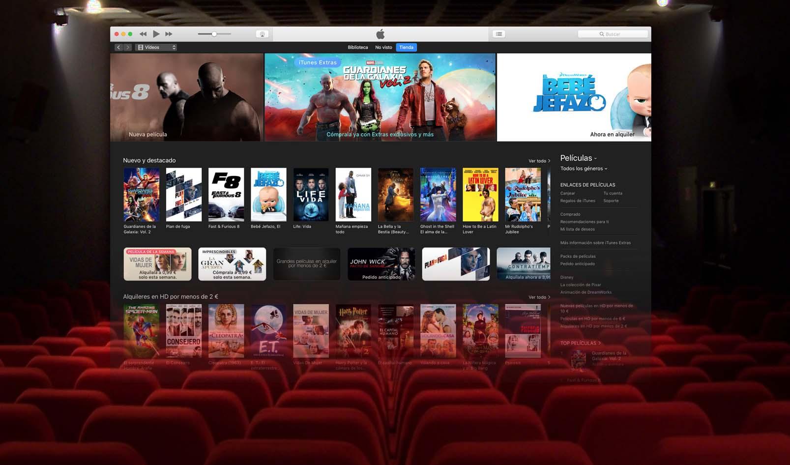 Los estrenos de cine podrían llegar a iTunes tan sólo 4 semanas después de empezar a exhibirse en salas