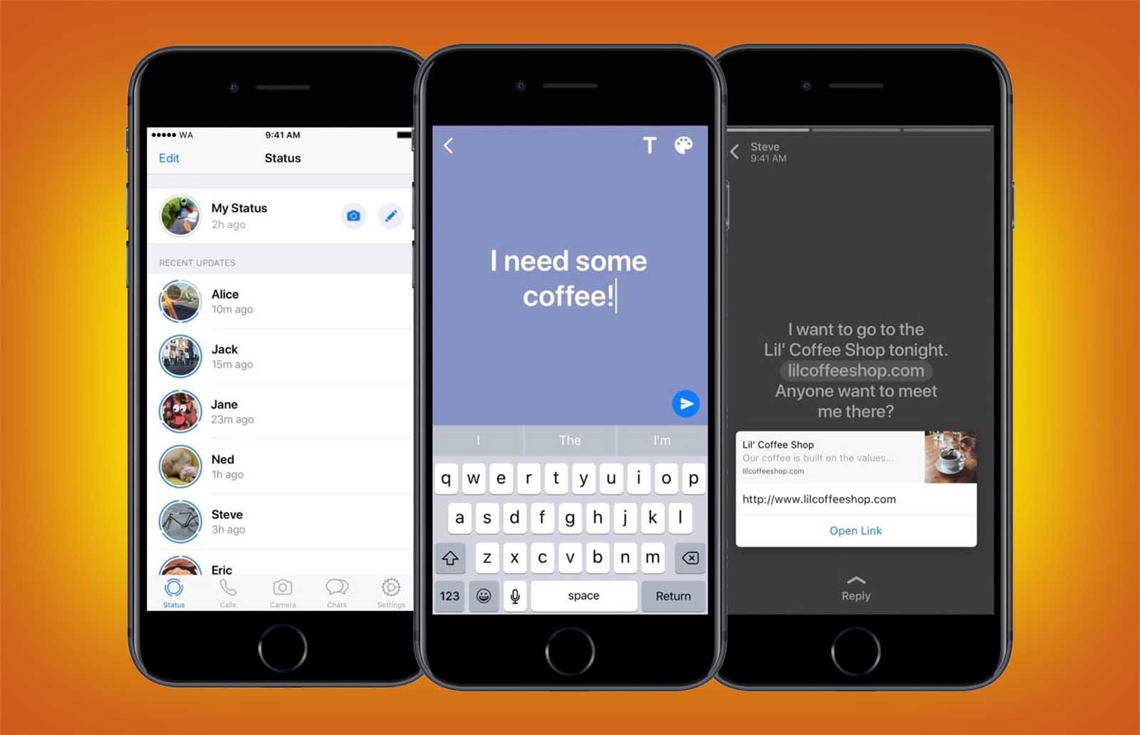 WhatsApp te permite ahora crear estados de texto sobre un fondo de color e incluir enlaces