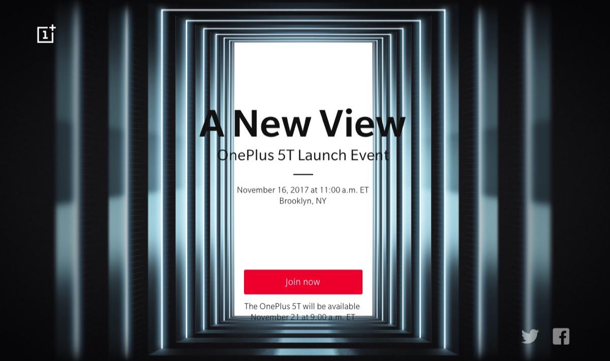 OnePlus ha confirmado hoy oficialmente que el OnePlus 5T se presentará el 16 de noviembre
