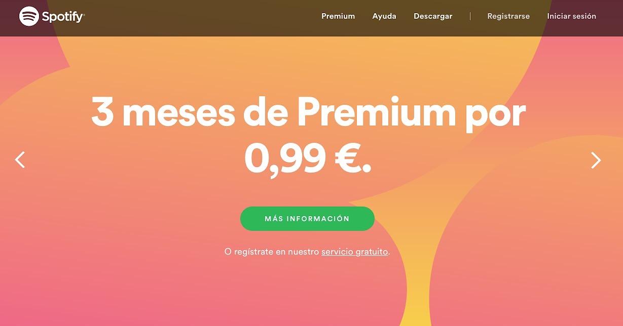 """Spotify ha lanzado una oferta con la que por sólo un euro (99 céntimos) tienes tres meses de servicio """"premium"""""""