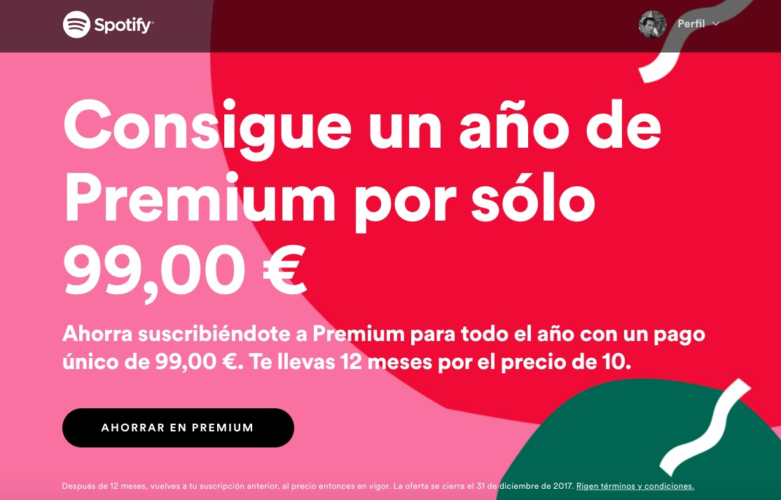Ahora puedes contratar un año de Spotify por 99 euros y ahorrarte dos meses