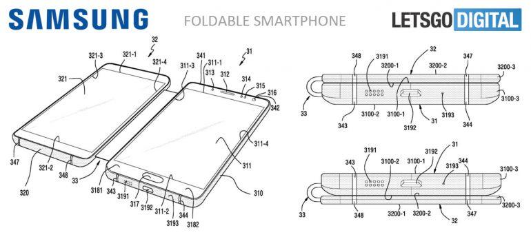 La nueva patente de Samsung muestra un smartphone con dos pantallas unidas por una pieza metálica