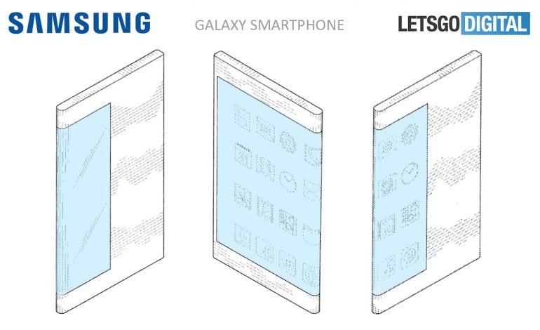 La patente de Samsung muestra un móvil con pantalla curva envolviendo el cuerpo del smartphone hasta ocupar la mitad de la parte trasera.